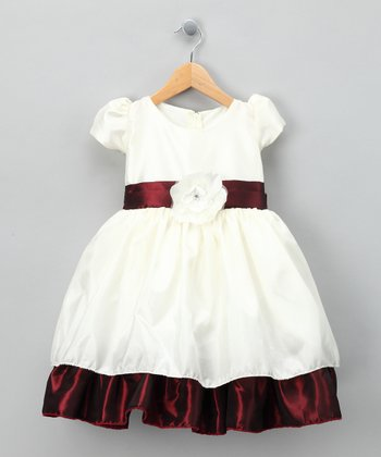Burgundy & Ivory Ruffle Dress - Infant, Toddler & Girls
