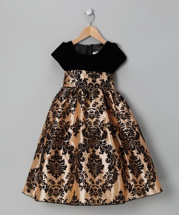 Black & Gold Damask Velvet Dress - Infant, Toddler & Girls