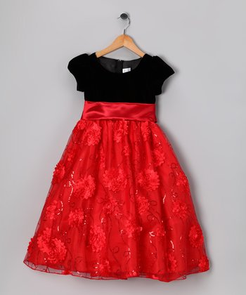 Red & Black Floral Velvet Dress - Infant, Toddler & Girls