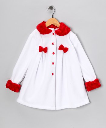 Kid Fashion White & Red Bow Jacket - Infant, Toddler & Girls