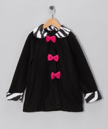 Kid Fashion Black Zebra Bow Jacket - Infant, Toddler & Girls