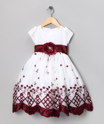 Kid Fashion White & Burgundy Dress - Infant, Toddler & Girls