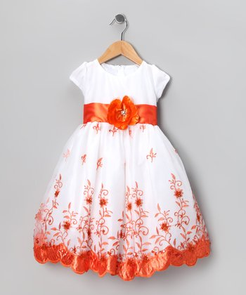 Kid Fashion White & Orange Flower Dress - Infant, Toddler & Girls