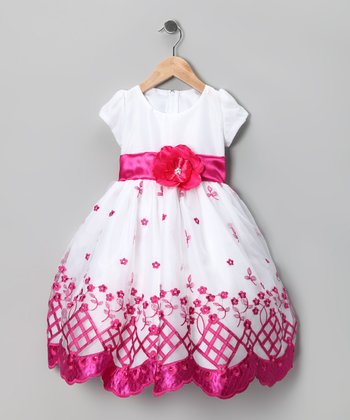 Kid Fashion White & Pink Flower Dress - Infant, Toddler & Girls