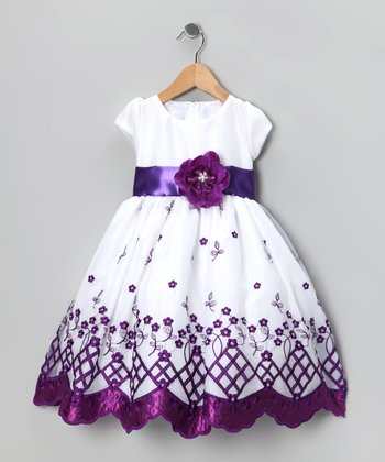 Kid Fashion White & Purple Flower Dress - Infant, Toddler & Girls