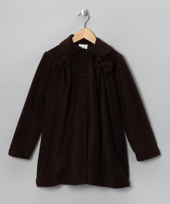 Kid Fashion Brown Bow Fleece Jacket - Infant, Toddler & Girls