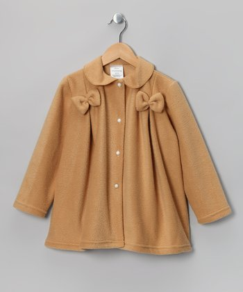 Kid Fashion Camel Bow Fleece Jacket - Infant, Toddler & Girls