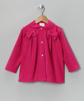 Fuchsia Bow Fleece Jacket - Infant, Toddler & Girls