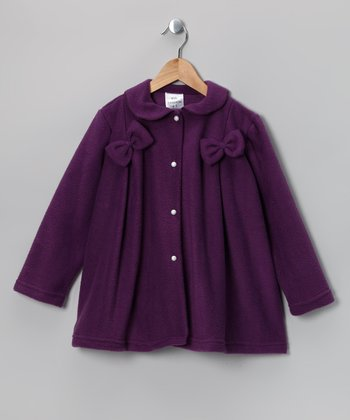 Kid Fashion Plum Bow Fleece Jacket - Infant, Toddler & Girls