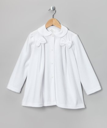 White Bow Fleece Jacket - Infant, Toddler & Girls