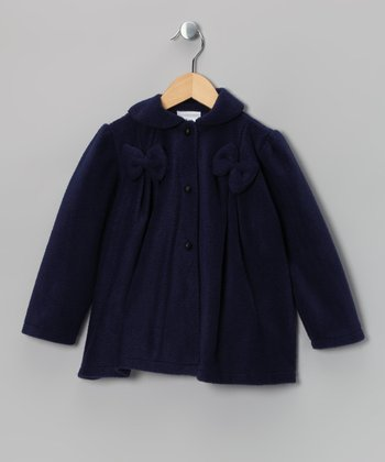 Kid Fashion Navy Bow Fleece Jacket - Infant, Toddler & Girls