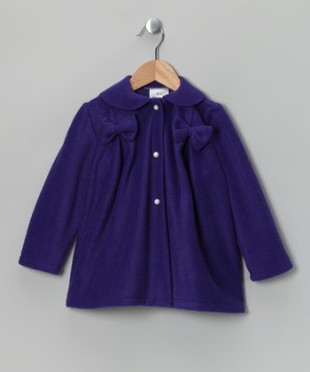 Kid Fashion Purple Bow Fleece Jacket - Infant, Toddler & Girls