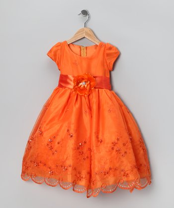 Kid Fashion Orange Embroidered Dress - Infant, Toddler & Girls