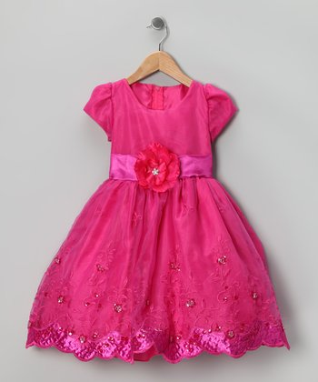 Kid Fashion Fuchsia Embroidered Dress - Infant, Toddler & Girls