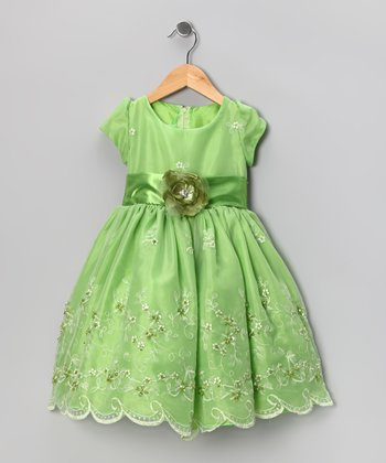 Kid Fashion Lime Embroidered Dress - Infant, Toddler & Girls