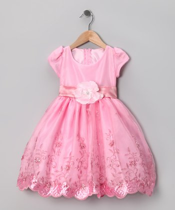 Kid Fashion Pink Embroidered Dress - Infant, Toddler & Girls