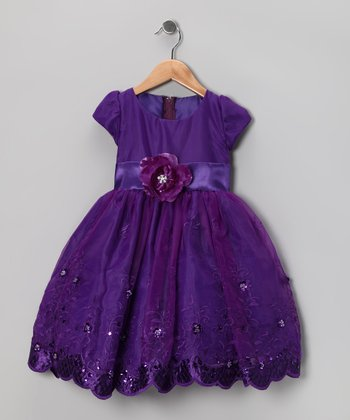 Kid Fashion Purple Embroidered Dress - Infant, Toddler & Girls