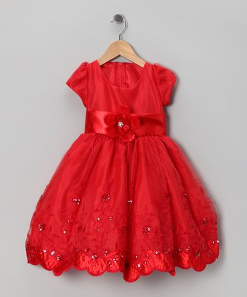 Kid Fashion Red Embroidered Dress - Infant, Toddler & Girls