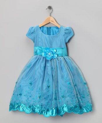 Kid Fashion Turquoise Embroidered Dress - Infant, Toddler & Girls