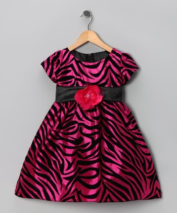 Kid Fashion Fuchsia Zebra Flower Dress - Infant, Toddler & Girls