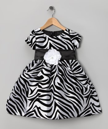 Black Zebra Flower Dress - Infant, Toddler & Girls