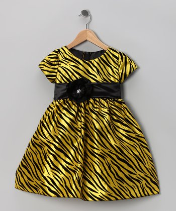 Kid Fashion Yellow Zebra Flower Dress - Infant, Toddler & Girls