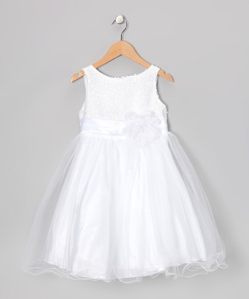 White Sequin A-Line Dress - Toddler & Girls