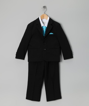 Black & Aqua Five-Piece Suit Set - Infant, Toddler & Boys