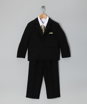 Black & Gold Five-Piece Suit Set - Infant, Toddler & Boys