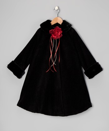 Black Rose Fleece Coat - Toddler & Girls