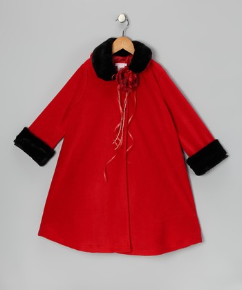 Red Rose Fleece Coat - Toddler & Girls
