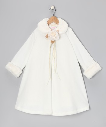 Ivory Rose Faux Fur Swing Coat - Toddler & Girls