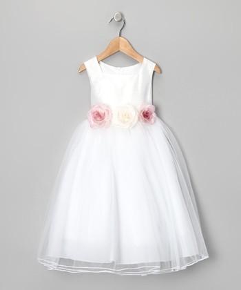 White Rose Silk Dress - Girls