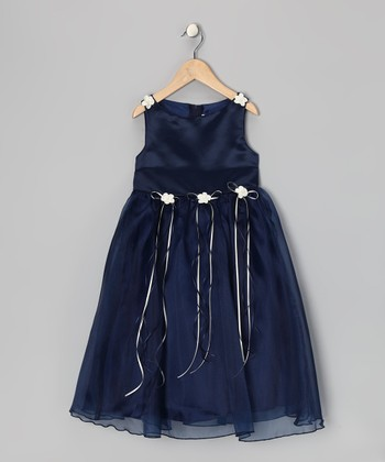 Navy Satin Organza Dress - Infant, Toddler & Girls