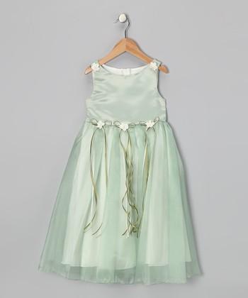 Sage Satin Organza Dress - Girls