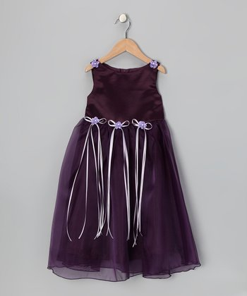 Purple Satin Organza Dress - Infant, Toddler & Girls