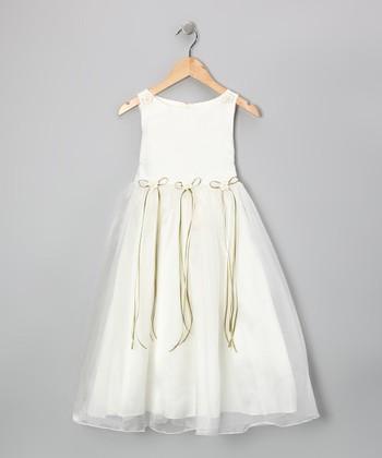 Ivory & Sage Satin Organza Dress - Girls