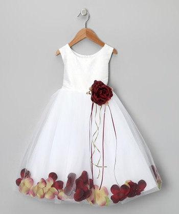 White & Burgundy Petal Silk Dress - Infant, Toddler & Girls