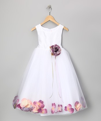 White & Lilac Petal Silk Dress - Infant, Toddler & Girls