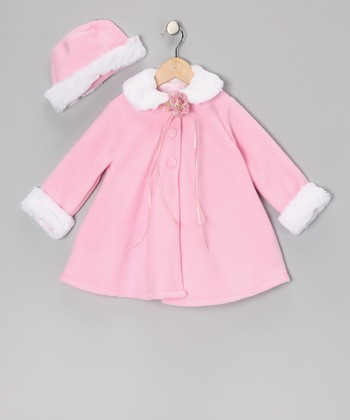 Pink Flower Faux Fur Swing Coat & Hat - Infant