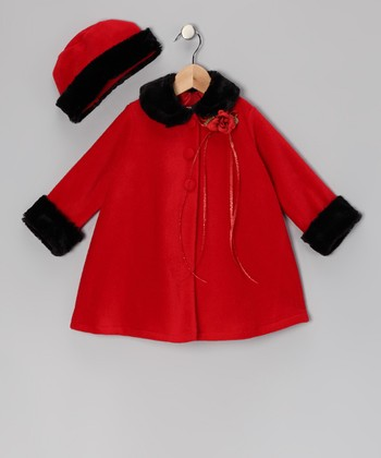 Red Flower Faux Fur Swing Coat & Hat - Infant