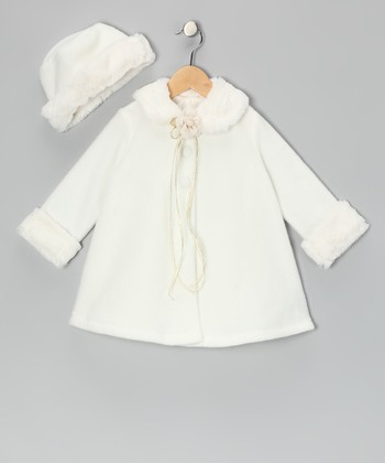 Ivory Flower Faux Fur Swing Coat & Hat - Infant