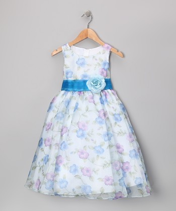 Blue Floral Organza Dress - Toddler & Girls