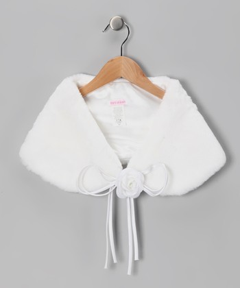 White Faux Fur Shawl - Toddler & Girls