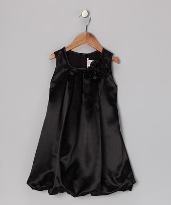 Black Rose Bubble Dress - Toddler & Girls