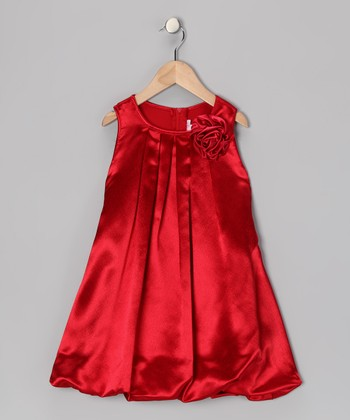Red Rose Bubble Dress - Toddler & Girls