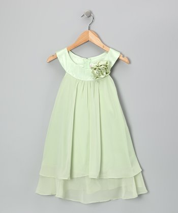Green Flower Yoke Dress - Toddler & Girls