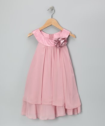 Pink Flower Yoke Dress - Girls