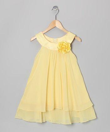 Yellow Flower Yoke Dress - Girls