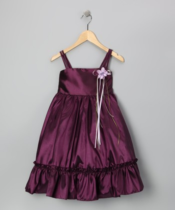 Eggplant Ruffle A-Line Dress - Toddler & Girls
